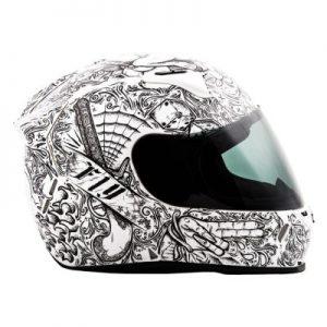 fly racing street revolt ink n needle helmet black white side view