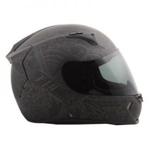 fly racing street revolt ink n needle helmet matte black side view