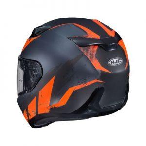 HJC i10 rank orange motorcycle crash helmet rear view