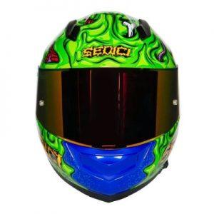 sedici strada II horta blue green helmet front view