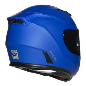 sedici strada II solid matte blue helmet rear view
