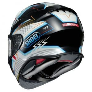 shoei rf-1400 helmet arcane graphics rear view
