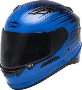 Gmax FF-98 reliance blue motorcycle helmet side view