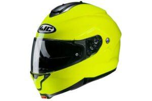 HJC C91 fluorescent green modular motorcycle helmet side view