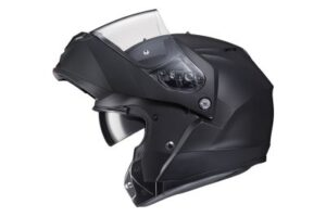 HJC C91 matte black modular motorcycle helmet side view