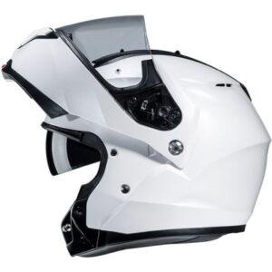 hjc c91 gloss white helmet side view chin bar up