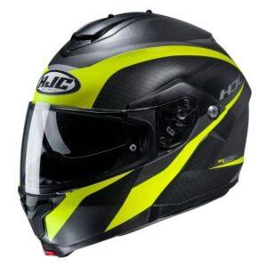 hjc c91 taly black fluo helmet side view