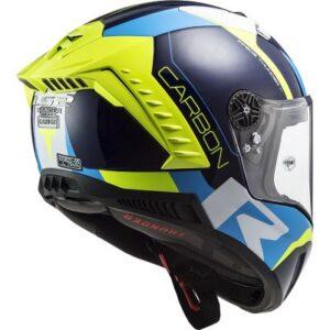 LS2 Thunder Racing 1 hi viz and blue helmet side view